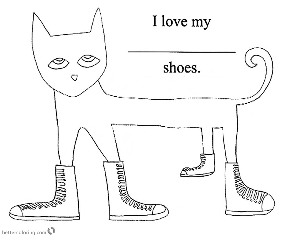 Pete the Cat Coloring Pages Simle Line Drawing Free