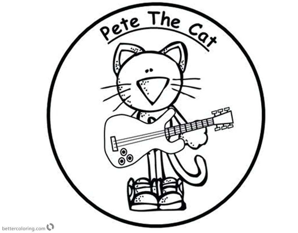 Pete the Cat Coloring Pages Sticker Play Guitar printable for free