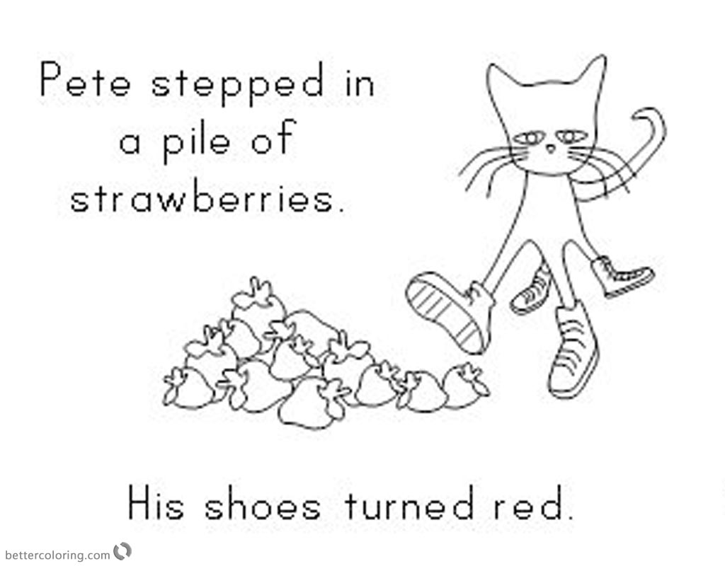 Pete the Cat Coloring Pages Turn Shoes in Red printable for free