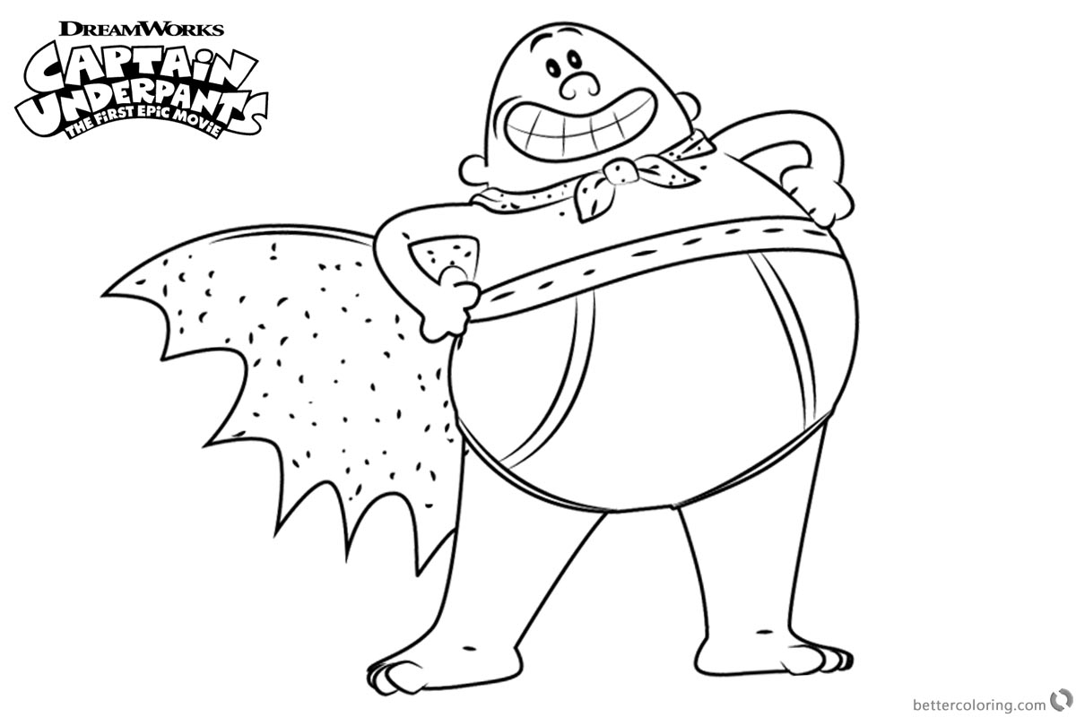 Proud Captain Underpants Coloring Pages printable for free