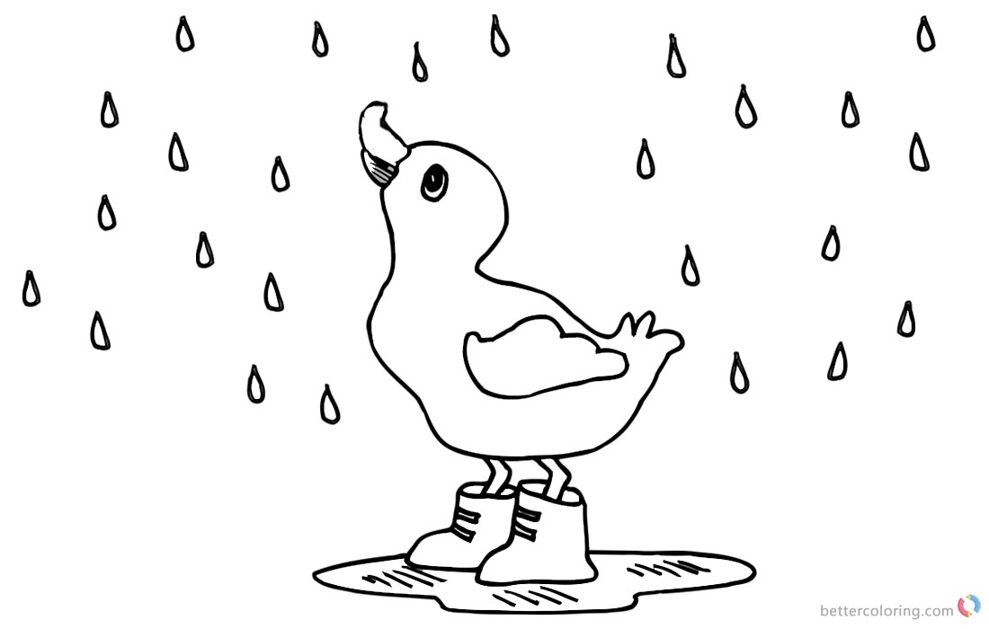 Raindrop Coloring Pages A Duck in the Rain printable for free