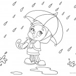 Raindrop Coloring Pages A Girl with Umbrella