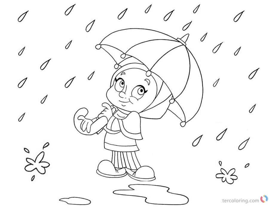 Raindrop Coloring Pages A Girl with Umbrella printable for free