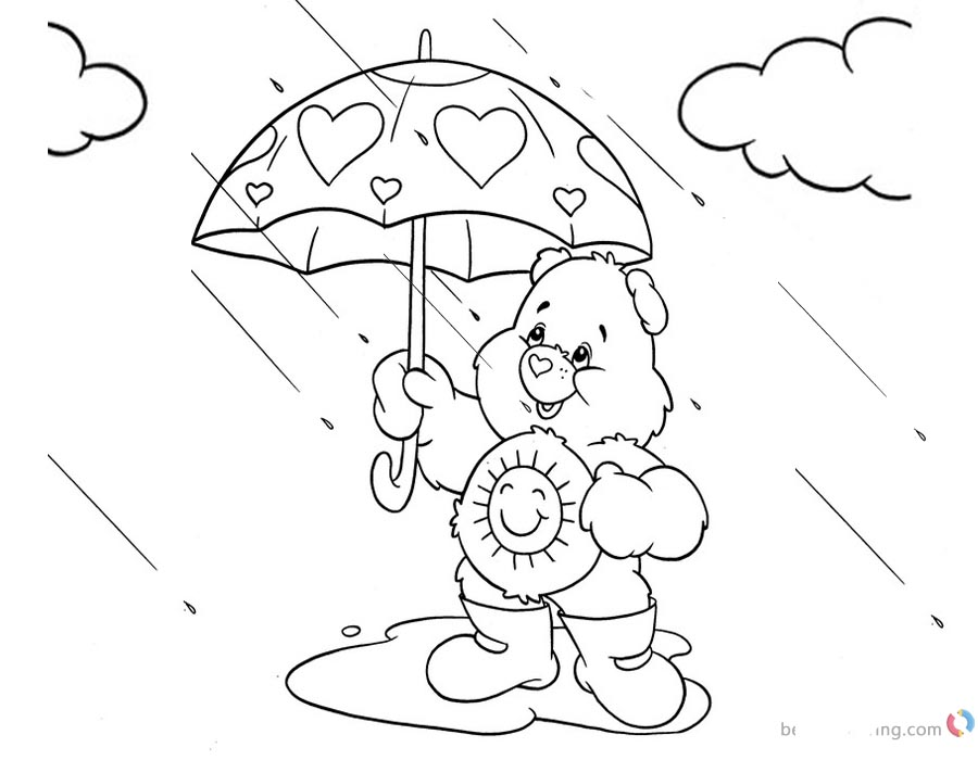 Raindrop Coloring Pages Care Bears printable for free