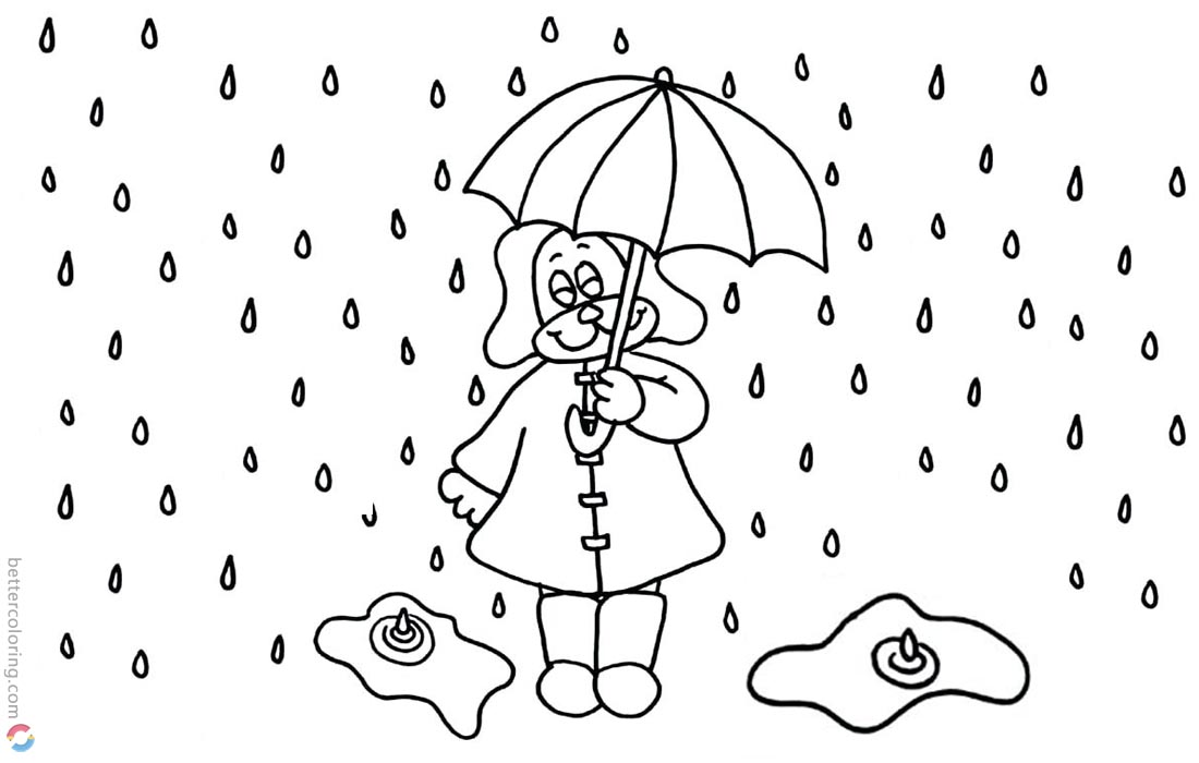 Raindrop Coloring Pages Cartoon Drawn printable for free