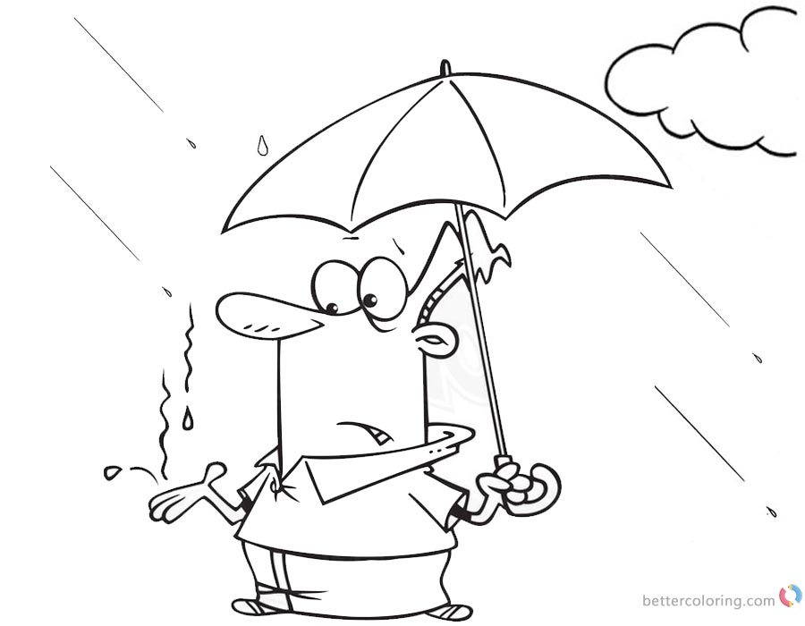 Raindrop Coloring Pages Catching Raindrops printable for free