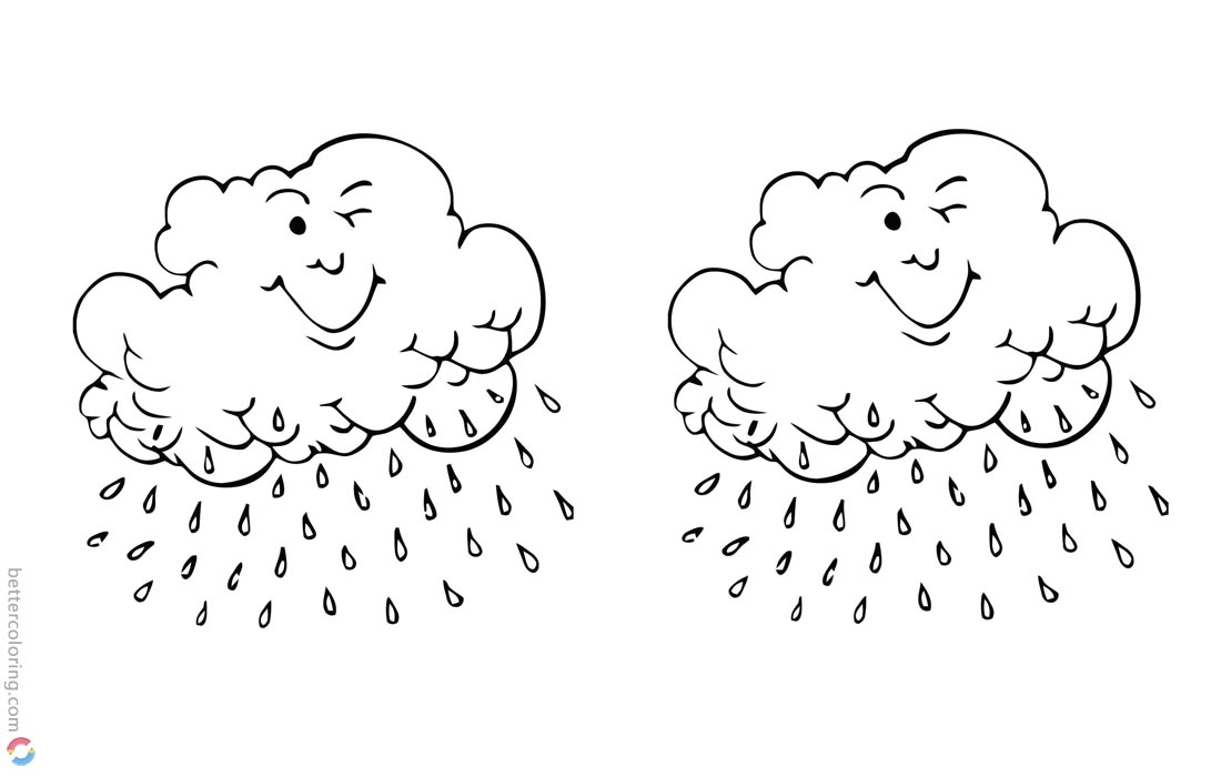 Raindrop Coloring Pages Clouds Blink printable for free
