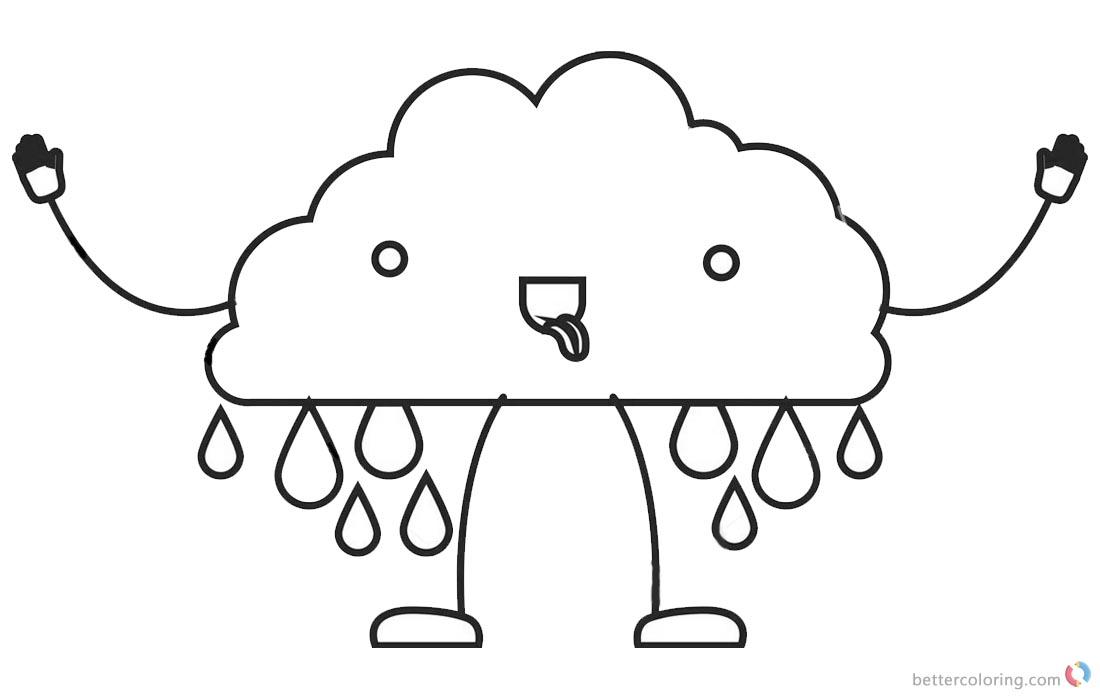 Raindrop Coloring Pages Cute Raindrop Man - Free Printable Coloring ...