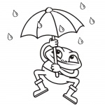 Raindrop Coloring Pages Frog Umbrella