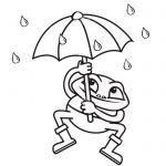 Raindrop Coloring Pages Frog Umbrella