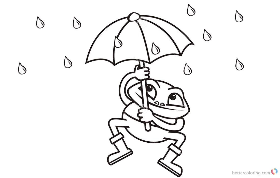 Raindrop Coloring Pages Frog Umbrella - Free Printable Coloring Pages