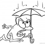 Raindrop Coloring Pages Frog in the Rain