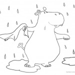 Raindrop Coloring Pages Hippo in the Rain Cartoon Clipart