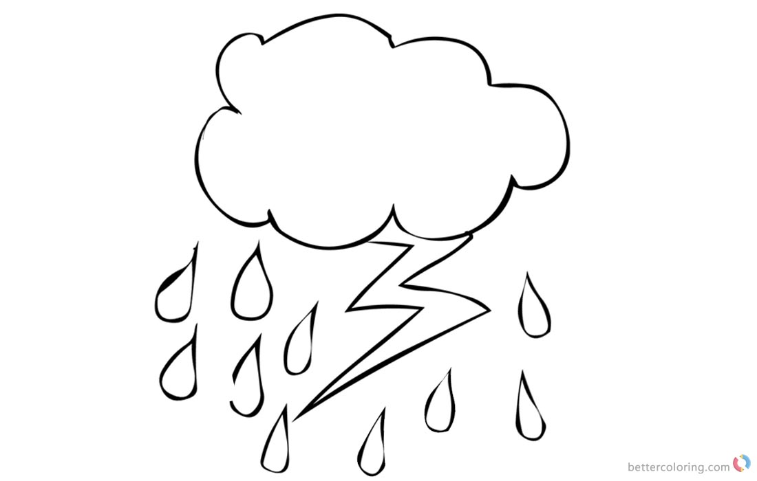 raindrops coloring pages for toddlers | Raindrop Coloring Pages Lightning - Free Printable ...