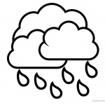 Raindrop Coloring Pages Rain with Clouds
