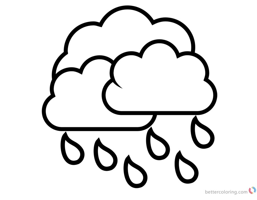 Raindrop Coloring Pages Rain with Clouds printable for free
