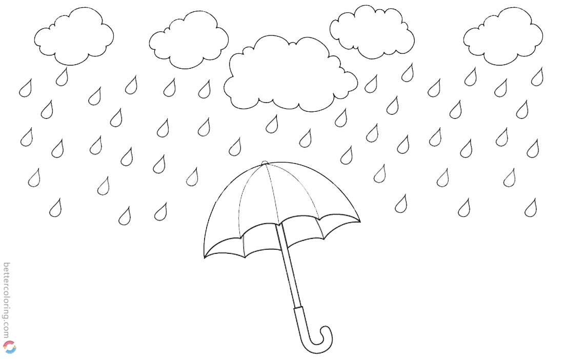 Raindrop Coloring Pages Rainy Water