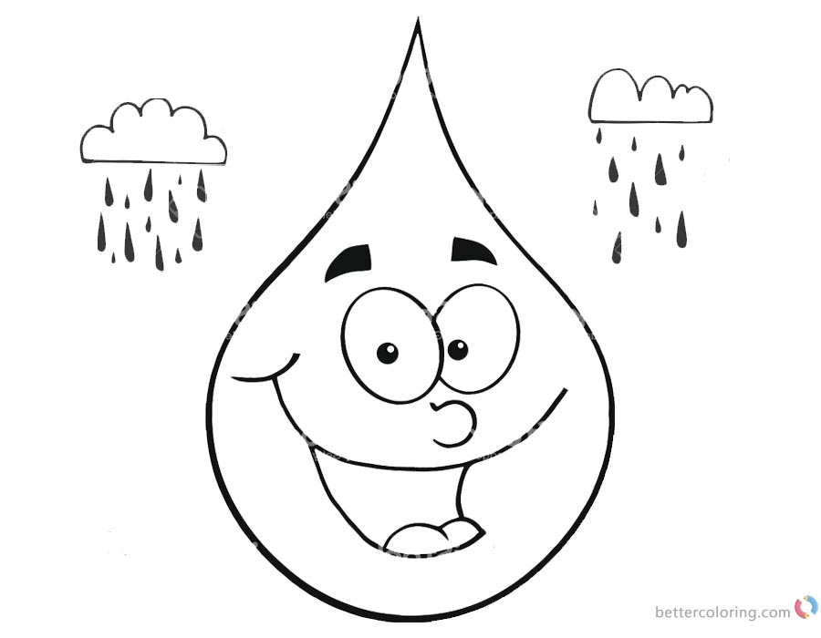 Raindrop Coloring Pages Simle Cartoon Raindrop Face - Free Printable ...