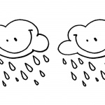 Raindrop Coloring Pages Smile Clouds with Raindrops