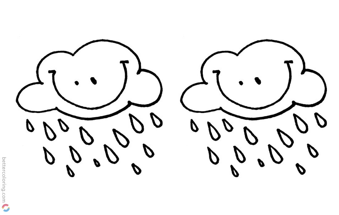 Raindrop Coloring Pages Smile Clouds with Raindrops printable for free