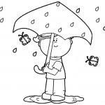Raindrop Coloring Pages Spring Rain and Butterfly