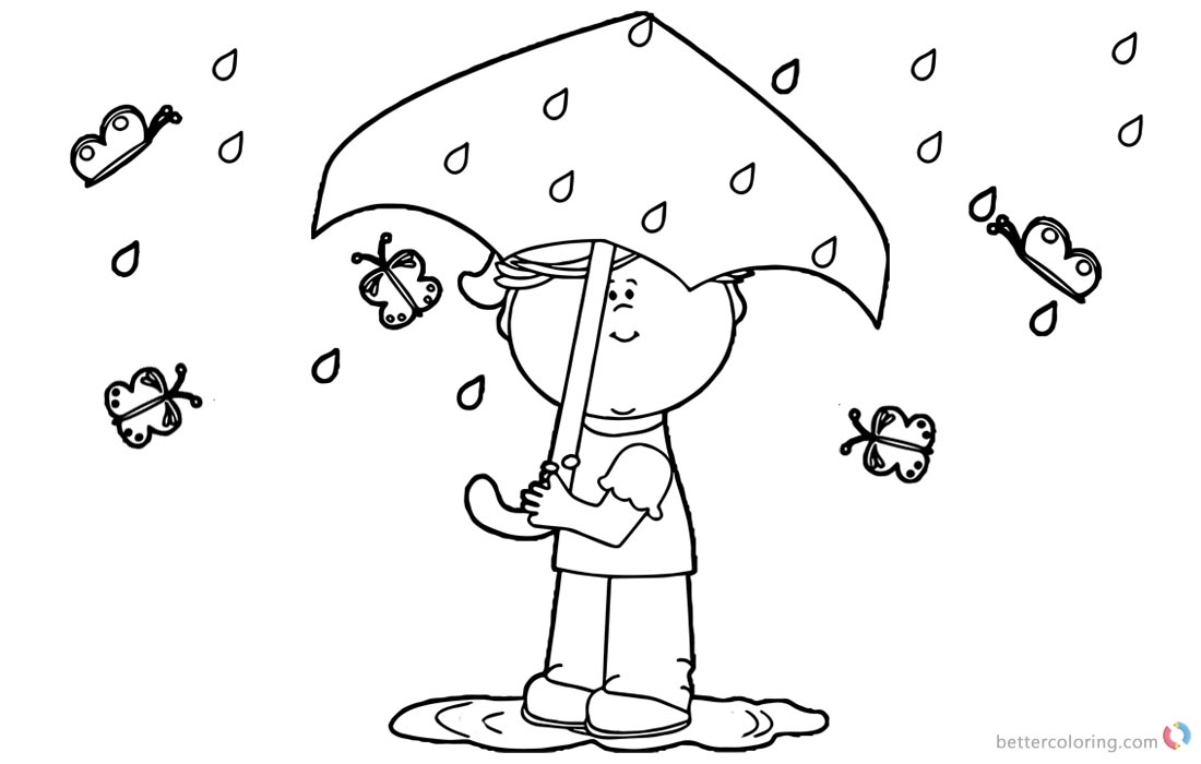 Raindrop Coloring Pages Spring Rain and Butterfly printable for free