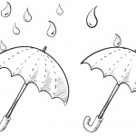 Raindrop Coloring Pages Two Umbrellas Sketch