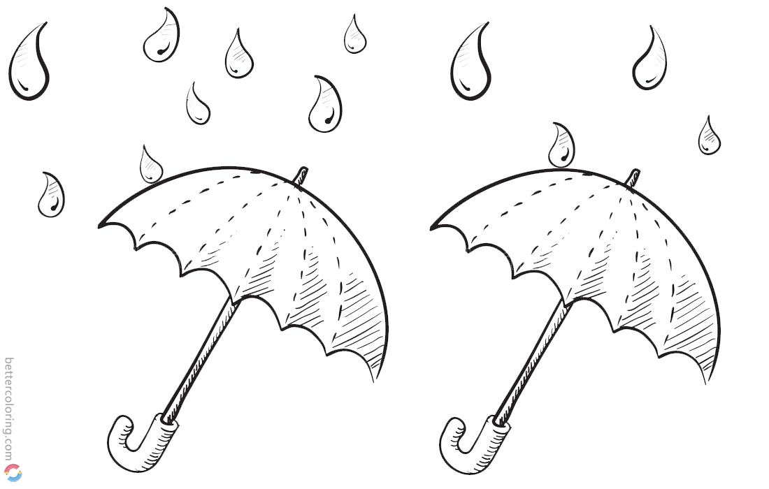 Raindrop Coloring Pages Two Umbrellas Sketch - Free Printable ...