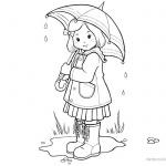 Raindrop Coloring Pages Umbrella Girl