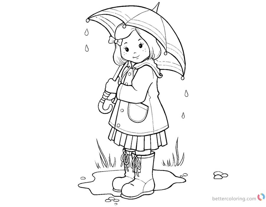 Raindrop Coloring Pages Umbrella Girl printable for free