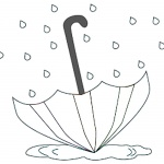 Raindrop Coloring Pages Umbrella in the Rain