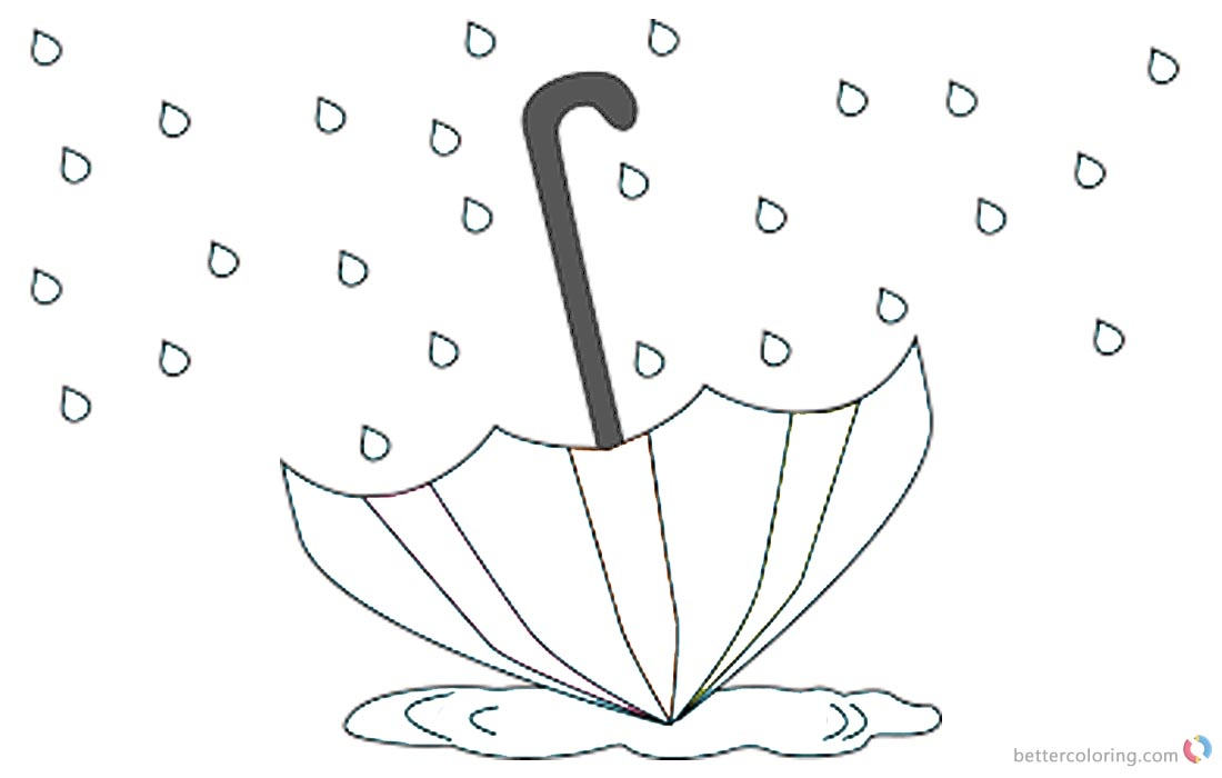 Raindrop Coloring Pages Umbrella in the Rain printable for free
