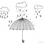 Raindrop Coloring Pages with Umbrella and Clouds