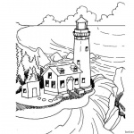 Realistic Lighthouse Coloring Pages Black and White