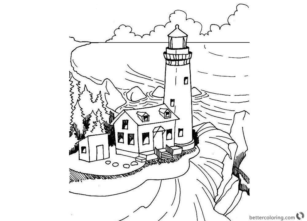 Realistic Lighthouse Coloring Pages Black and White printable for free