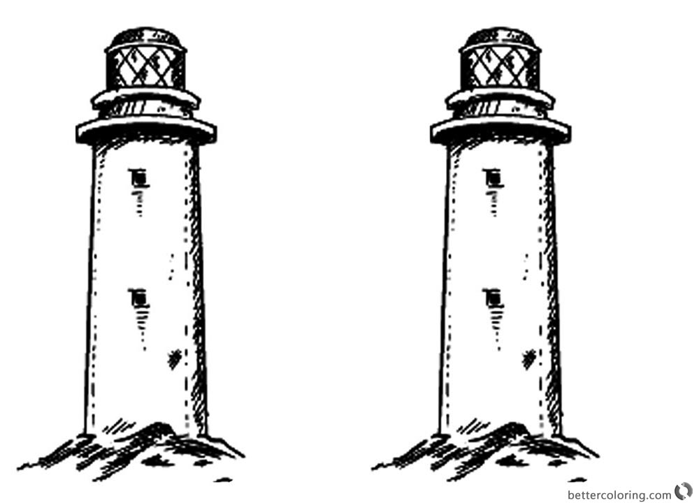 Realistic Lighthouse Coloring Pages Clipart printable for free