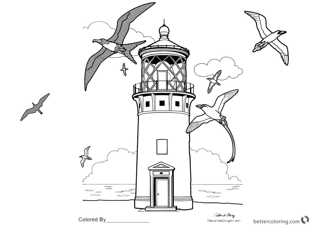 Realistic Lighthouse Coloring Pages printable for free