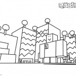 Roblox Coloring Pages Buildings Line Drawing