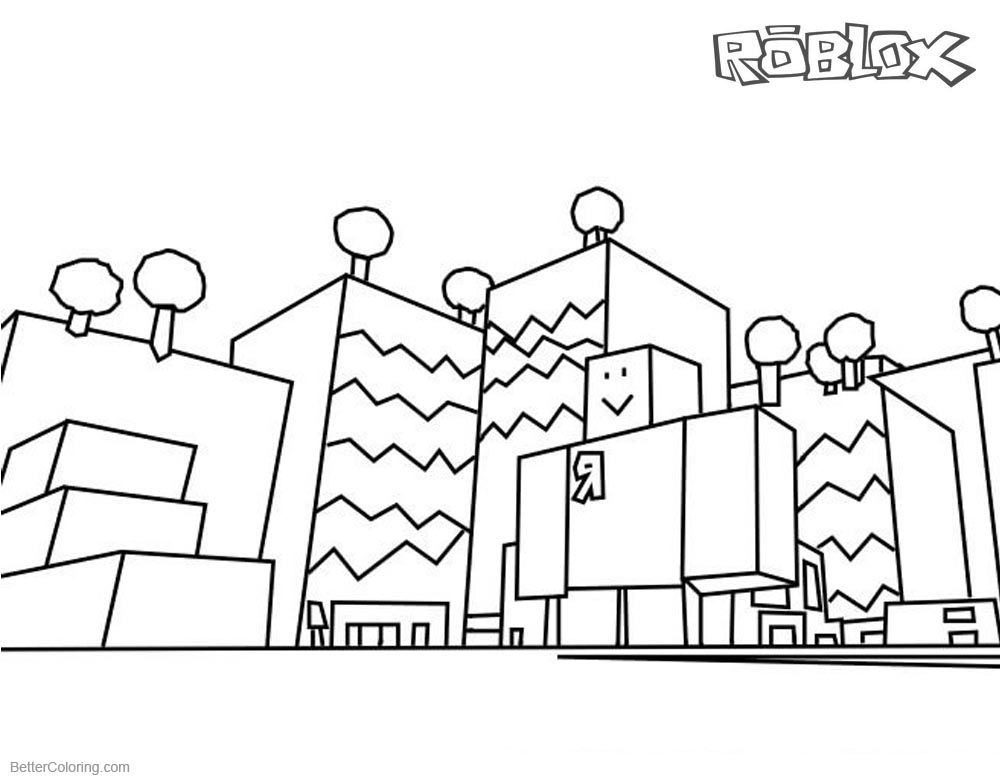 Roblox Coloring Pages Buildings Line Drawing printable for free