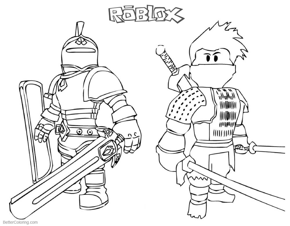 roblox coloring pages - roblox coloring pages ninja and knight free printable