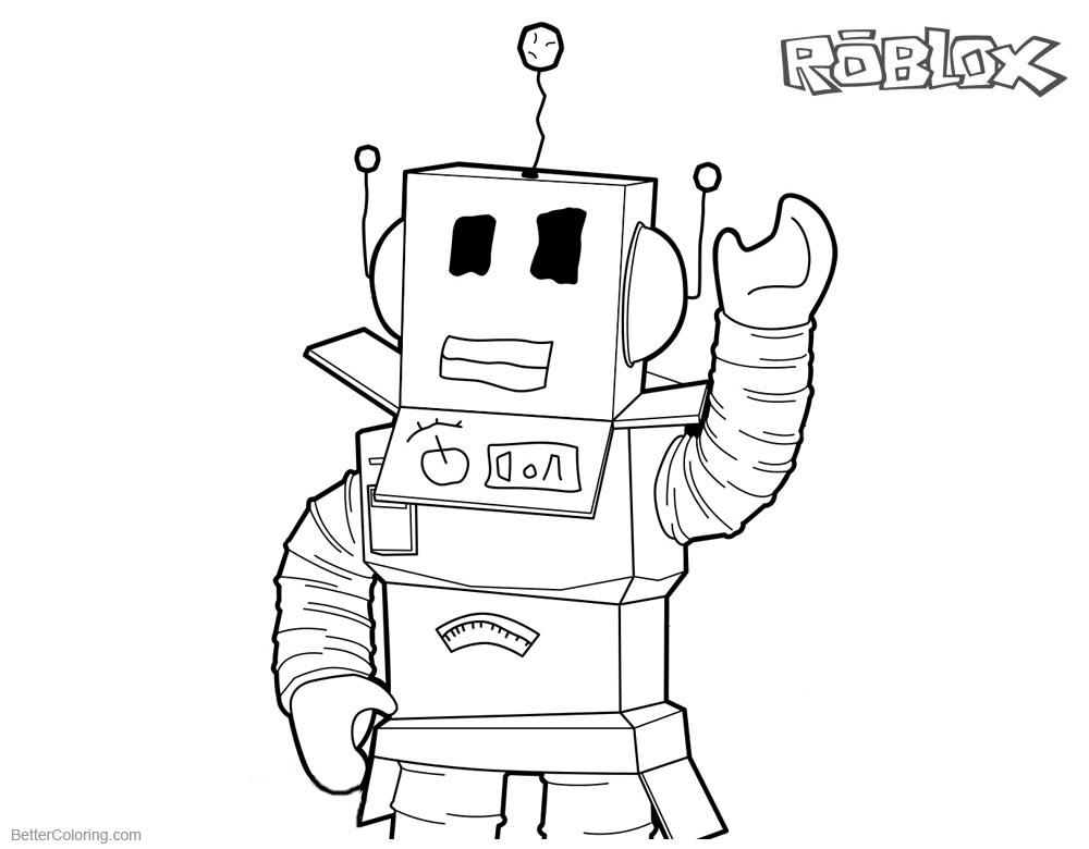 Roblox Coloring Pages Robot Line Art printable for free