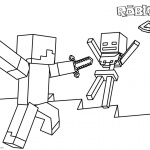 Roblox Coloring Pages Steve and Skeleton