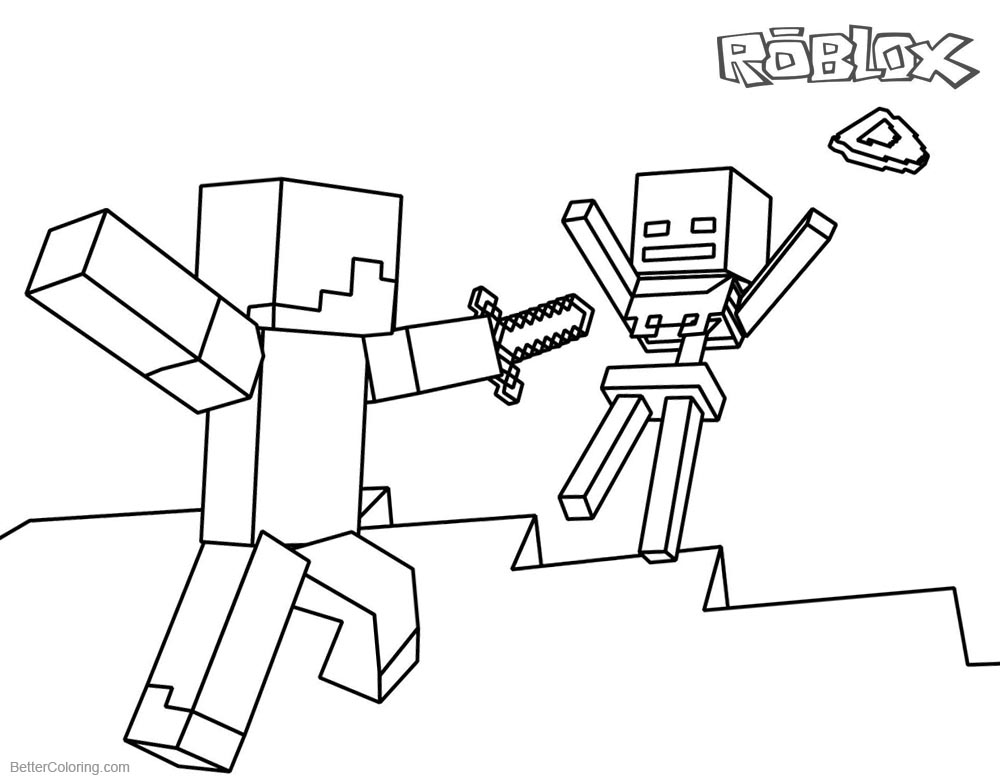 Roblox Coloring Pages Steve and Skeleton printable for free