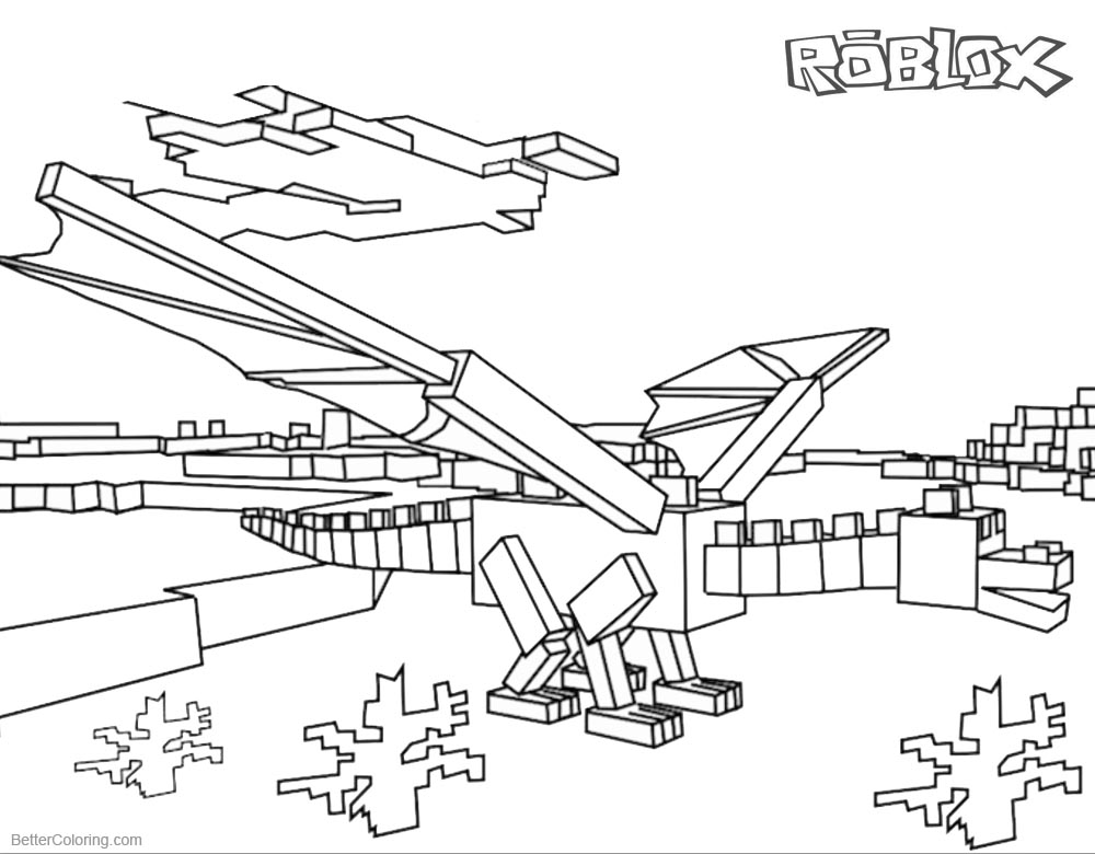 Roblox Dragon Coloring Pages printable for free