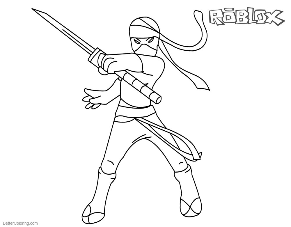 Roblox Girl Coloring Pages Ninja Clipart printable for free