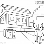 Roblox Minecraft Coloring Pages House and Farm Animal