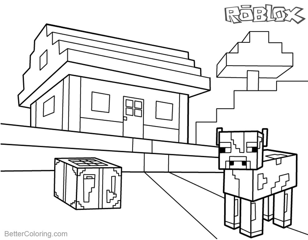 Roblox Minecraft Coloring Pages House and Farm Animal printable for free
