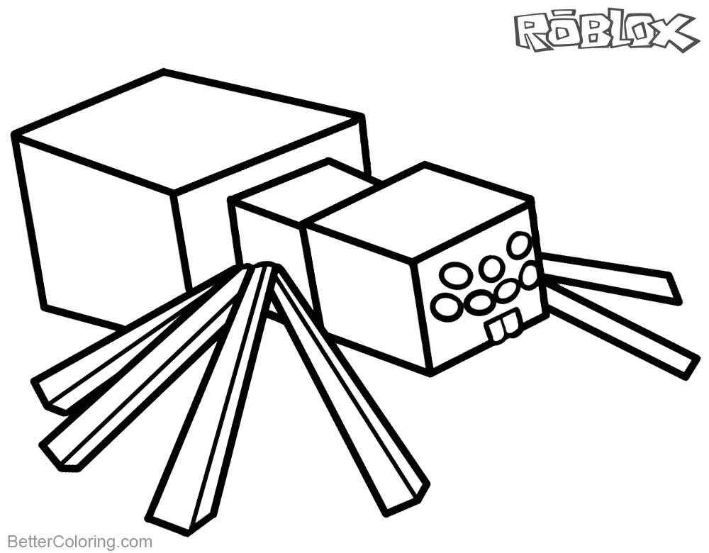 Roblox Minecraft Coloring Pages Spider printable for free