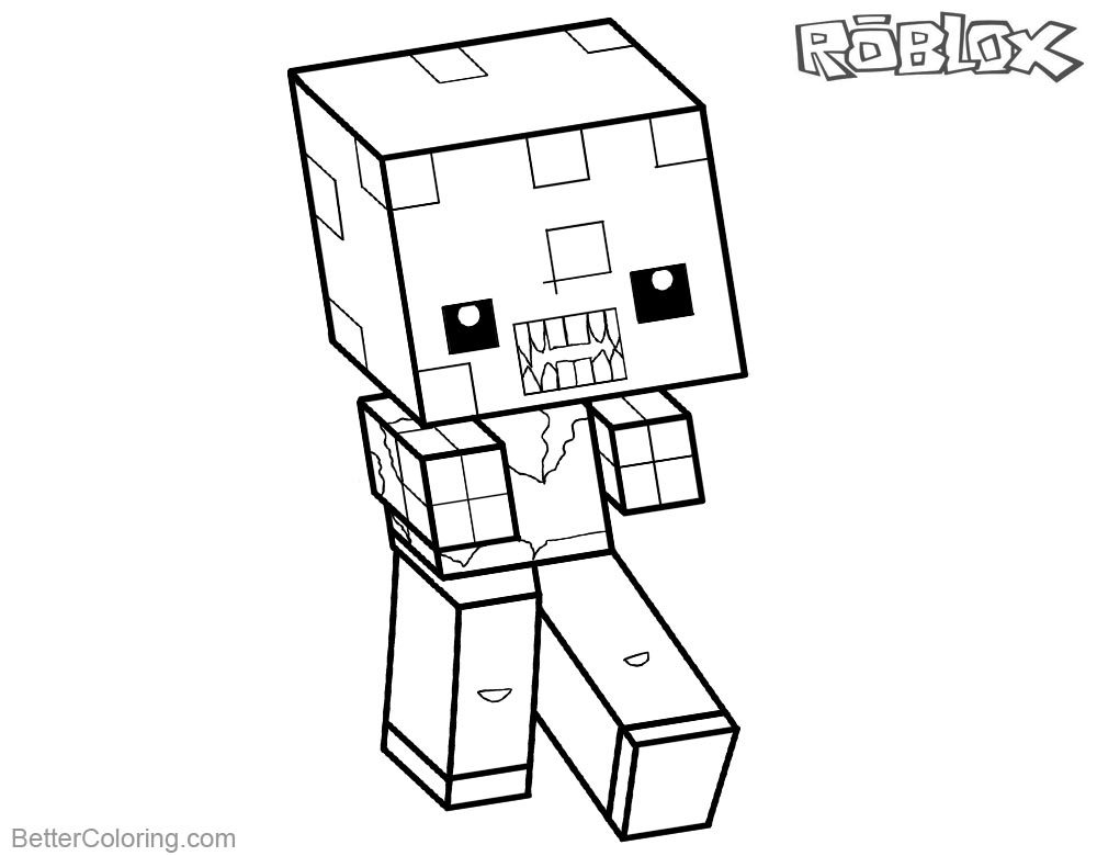 Roblox Minecraft Coloring Pages Zombie Free Printable