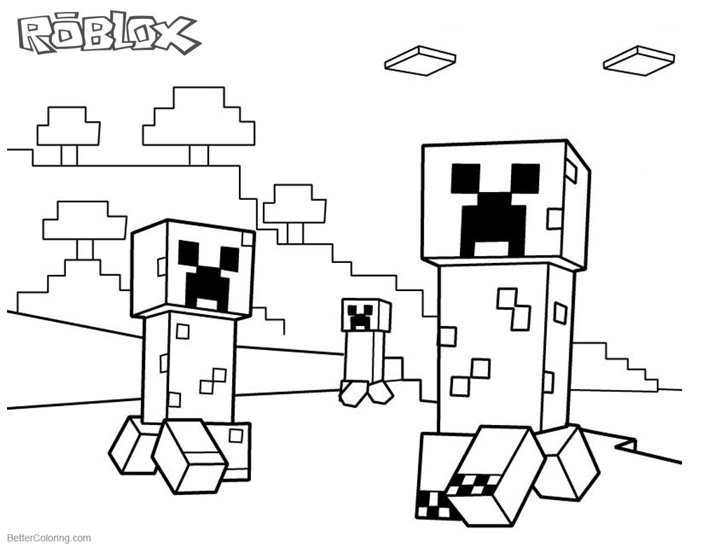 Roblox Minecraft Coloring pages Creepers printable for free